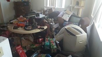 living room full of junk