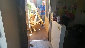 removing junk away from apartment door