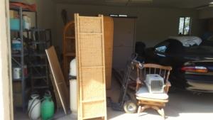before picture of cluttered garage